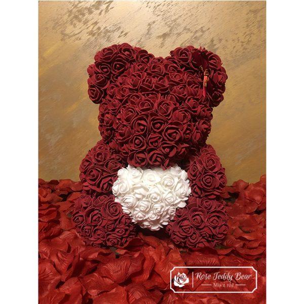 Mis z róż Bordowy z Białym Sercem