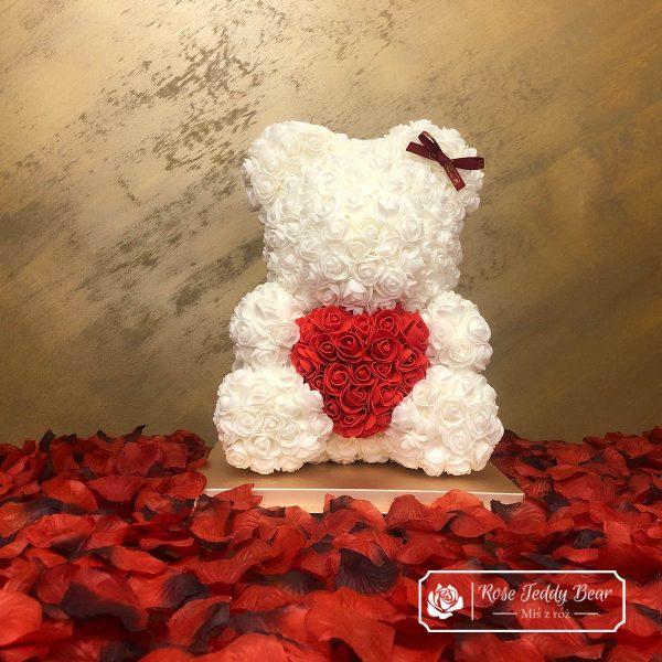 Biały Miś z Róż 40 cm z sercem