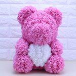 Rose Bear with Heart – Pink 40 cm (Box + Rose Petals)