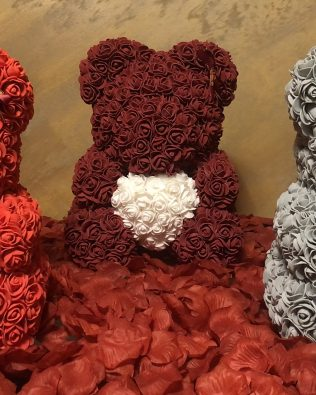 Rose Bear Flower Party Love Teddy 40cm Box GRAU Herz mit Box