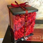 Pink Rose Bear with Ribbon 40 cm (GiftBox + Rose Petals)