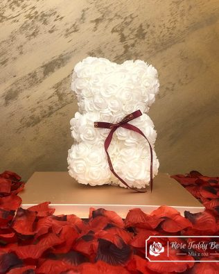 Rose Bear with Bow – White 25 cm (GiftBox + Rose Petals)