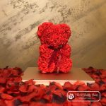 Rose Bear with Bow – Red 25 cm (GiftBox + Rose Petals)