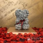 Rose Bear with Bow – Gray 25 cm (GiftBox + Rose Petals)