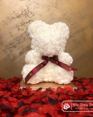 White Rose Bear with Ribbon (Box + Rose Petals)