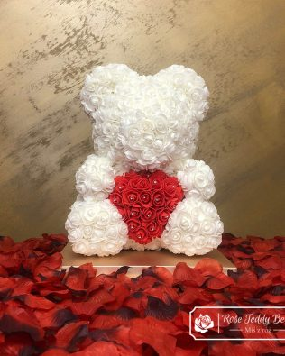 Diamond White Rose Bear with Heart – 40 cm