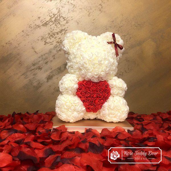 Ecru Miś z róż