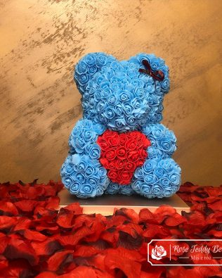Rose Bear – Blue Azure with Red Heart – 40 cm (Box + Rose Petals)