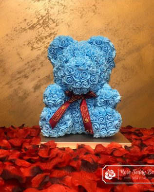 Blue Rose Bear 40 cm (GiftBox + Rose Petals)