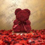 Burgundy Rose Bear with Ribbon – 40 cm