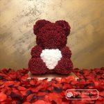Burgundy Rose Bear with Heart – 40 cm (Box + Rose Petals)