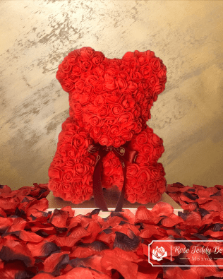 Red Rose Bear with Ribbon – 40 cm