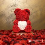 Red Rose Bear with Heart – 40 cm (Box + Rose Petals)