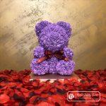Purple Rose Bear with Ribbon – 40 cm (Gift Box + Rose Petals)