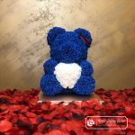 Rose Bear 40 cm – Blue with White Heart (Box + Rose Petals)