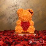 Rose Bear 40 cm – Orange with Red Heart (Box + Rose Petals)
