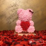 Rose Bear with Red Heart – Pink 40 cm (Giftbox + Rose Petals)