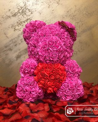 Pink Rose Bear with Red Heart 40cm (Giftbox + Rose Petals)