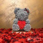 Rose Bear with Heart – Gray 40 cm (Box + Rose Petals)