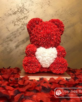 Diamond Red Rose Bear with Heart – 40 cm