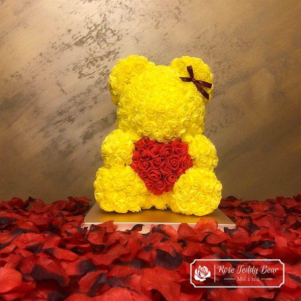 Żółty Miś z Róż 40 cm z sercem