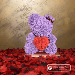 Rose Bear with Red Heart – Purple 40 cm (Giftbox + Rose Petals)