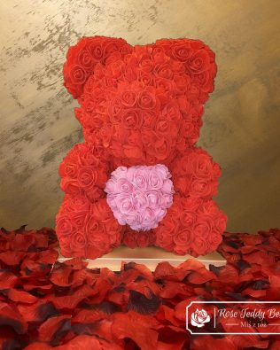Red Rose Bear with Pink Heart – 40 cm (Box + Rose Petals)