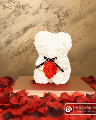 Rose Bear with Heart – White 25 cm (GiftBox + Rose Petals)