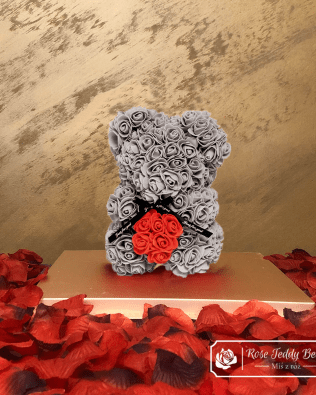 Rose Bear with Heart – Gray 25 cm (GiftBox + Rose Petals)