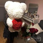 Red Rose Bear with White Heart – 60 cm