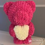 Pink Rose Bear with White Heart – 60 cm
