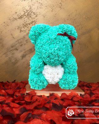 Mint Rose Bear with Heart – 40 cm (Box + Rose Petals)