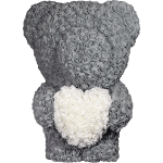 Grey Rose Bear with White Heart – 60 cm